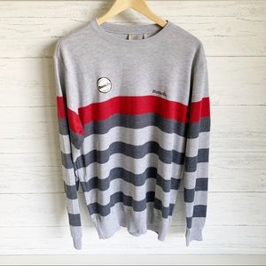 NWT Bench Men's Striped Sweater Grey Red Charcoal